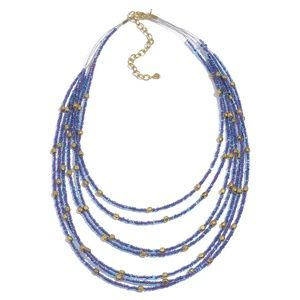 Purple Blue &Gold Multi-Strand Seed Bead Necklace